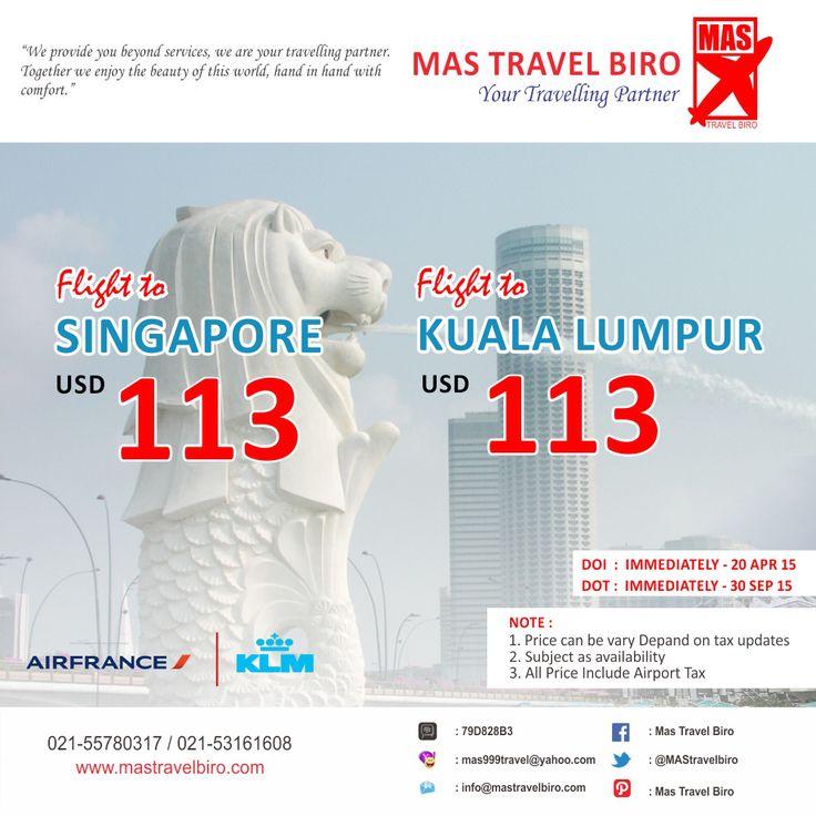 Liburan ke Singapore atau Kula Lumpur? Sedang mencari tiket promo? Booking segera di Mas Travel Biro. Info : 021-55780317 / 021-53161608