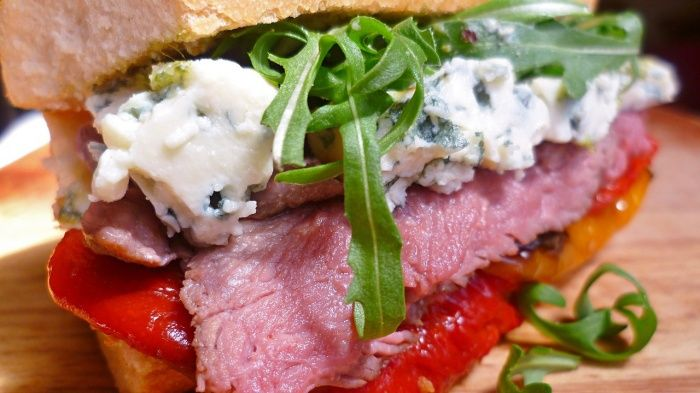 Leftover roast beef and blue cheese sandwich