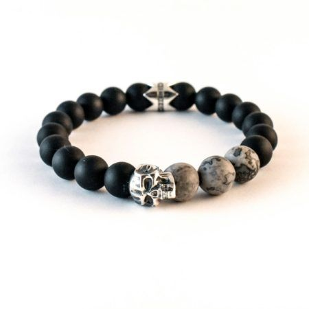 The Warrior Prince - 10mm Matt Onyx and Grey Jasper featuring Solid 925 Silver Eli Skull and Crown. #jrlife