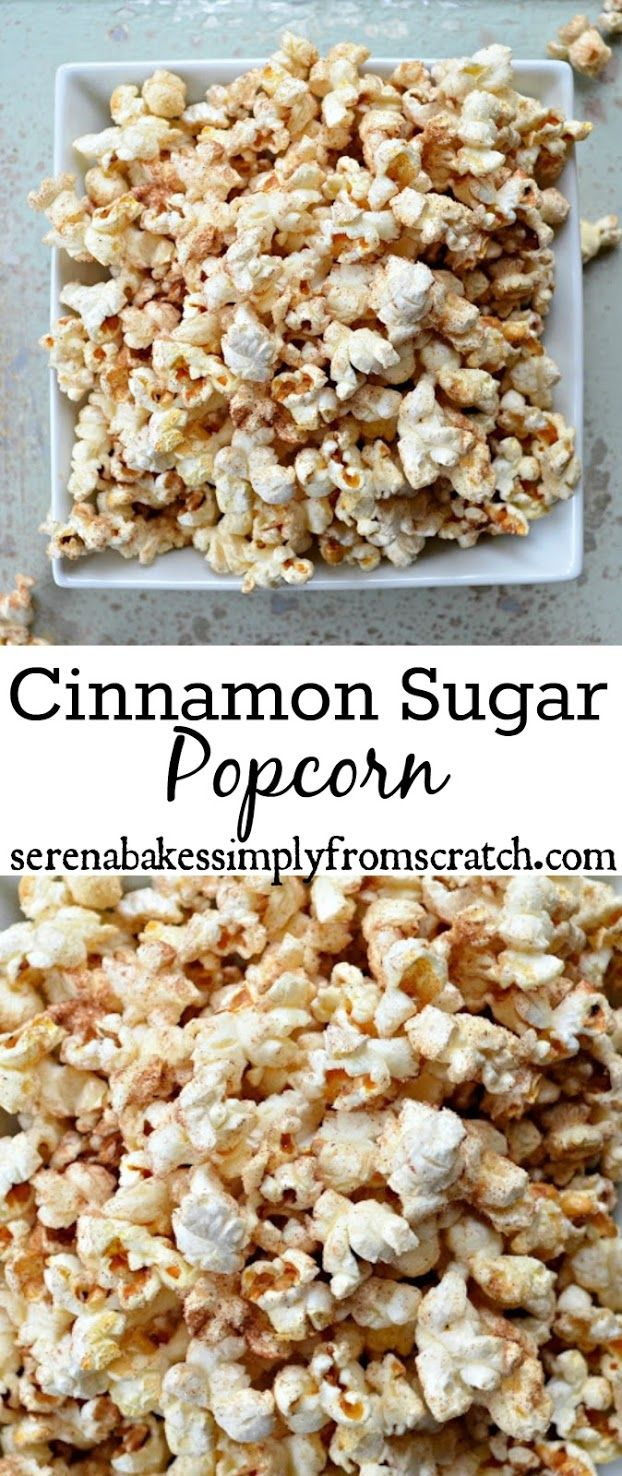 Cinnamon Sugar Popcorn is the perfect snack for movie night! So good!