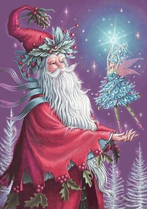 love this! a Christmas fairy and Santa