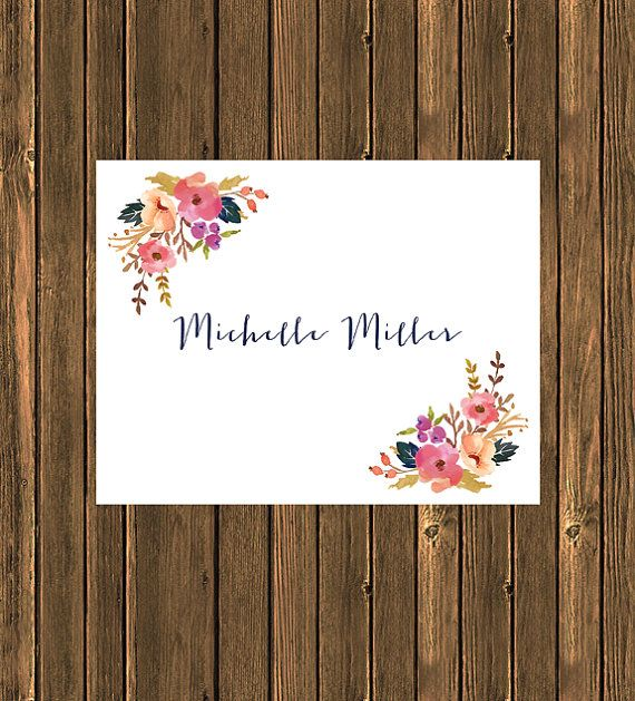 SALE  Personalized Floral Notecard by jpurifoy on Etsy