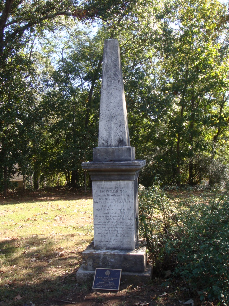 Roswell King, the founder of Roswell, has a special marker for his grave in Founder's Cemetery.