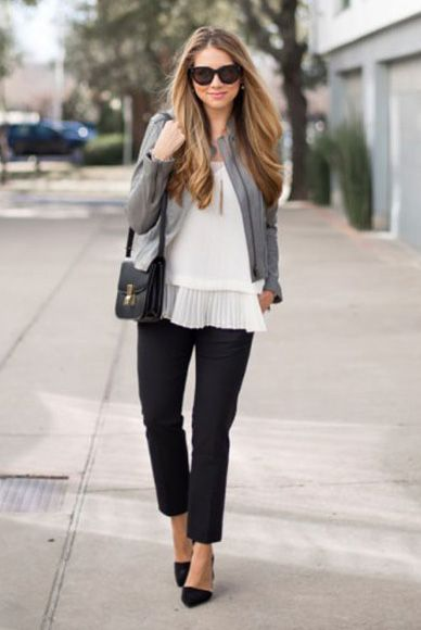 spring work outfit, fall work outfit, business casual, office outfit, spring fashion, fall fashion, spring outfit, fall outfit, street style, street chic style - grey leather jacket, white pleated blouse, black ankle pants, black heels, black sunglasses, black shoulder bag