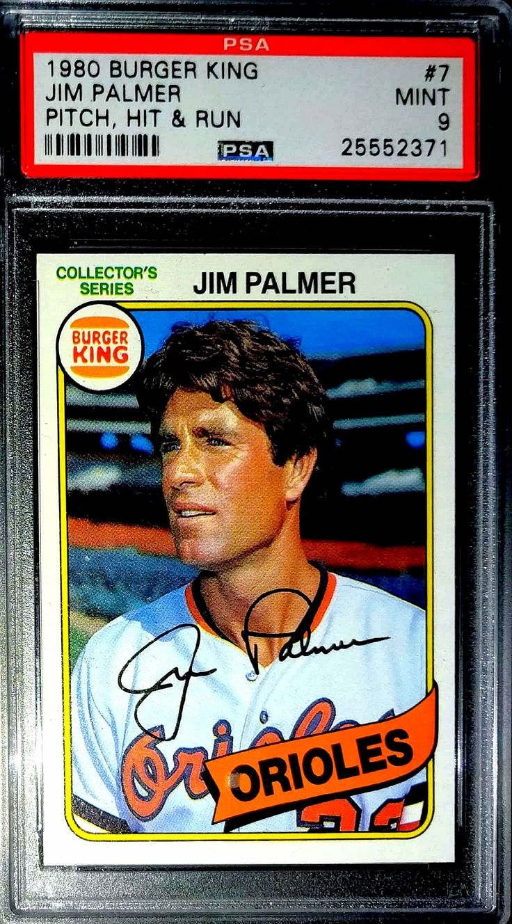 1980 Burger King Pitch, Hit, and Run Jim Palmer PSA 9