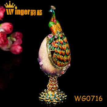 Fashion Gift Neon Peacock Decor Faberge Style Russia Eggs Trinket Box Figurine Home Display Vintage Easter Egg Metal Craft