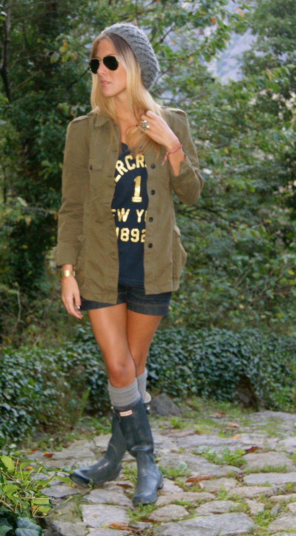 Hunter, socks, shorts, parka