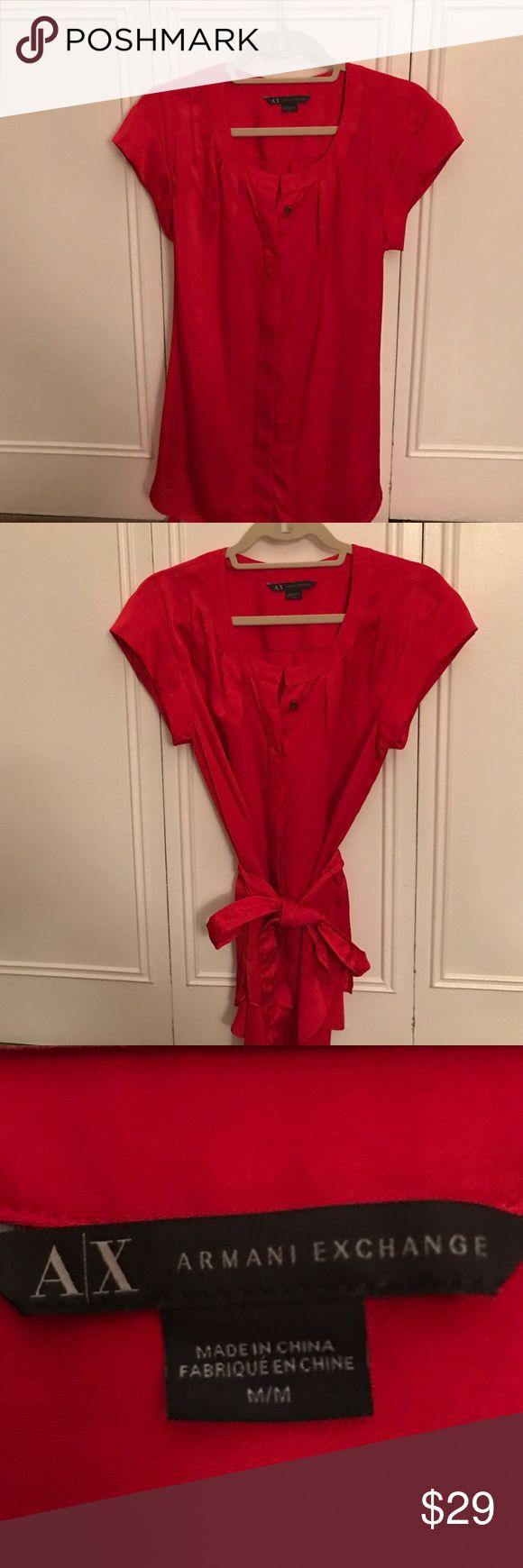 Armani Exchange button down belt blouse Beauty Armani Exchange button down blouse with waist belt. Excellent condition A/X Armani Exchange Tops Blouses