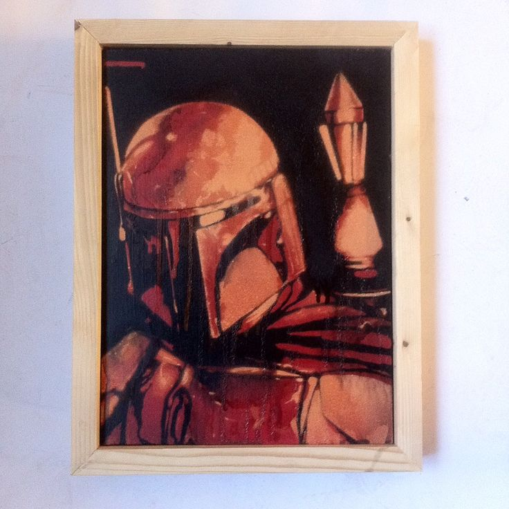 REDSpray paint on wood.Framed.20cm x 28cmArtist : KVLRFree shipping UK