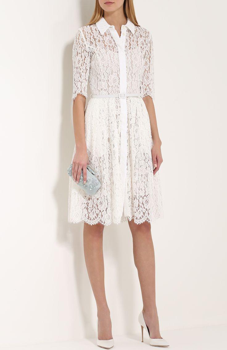 Женское белое кружевное платье-рубашка с поясом Oscar de la Renta, сезон SS 2017, арт. R17N6094/IVR купить в ЦУМ | Фото №2