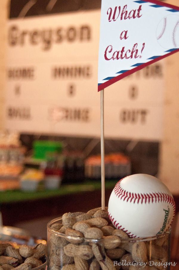 Easy Baseball Party centerpiece......peanuts