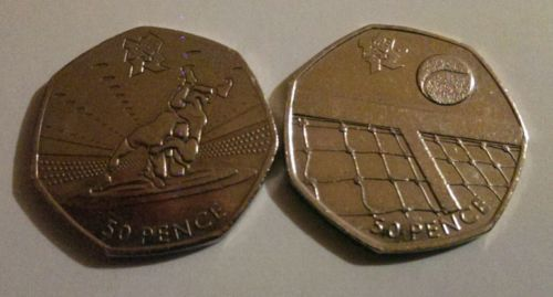 Pair of rare london #olympics 2012 50p #fifty #pence coins wrestling & tennis ,  View more on the LINK: 	http://www.zeppy.io/product/gb/2/272335919378/