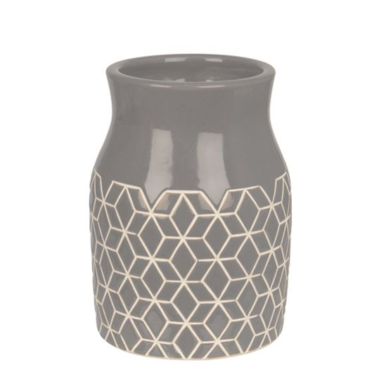 Grey Carved Hex Vase http://www.koop.co.nz
