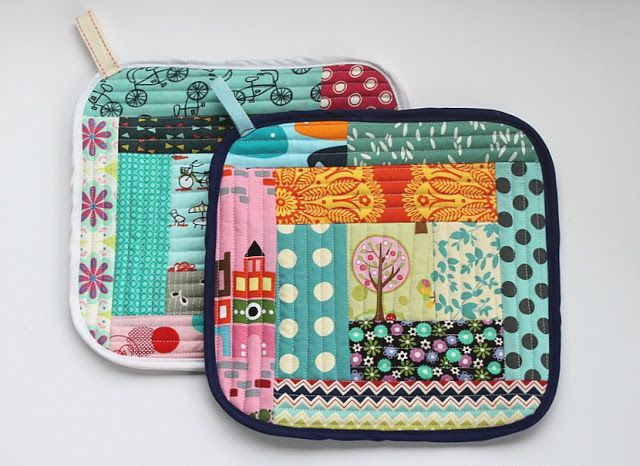 quilt: Quilt As You Go Pot Holders || Sew Delicious