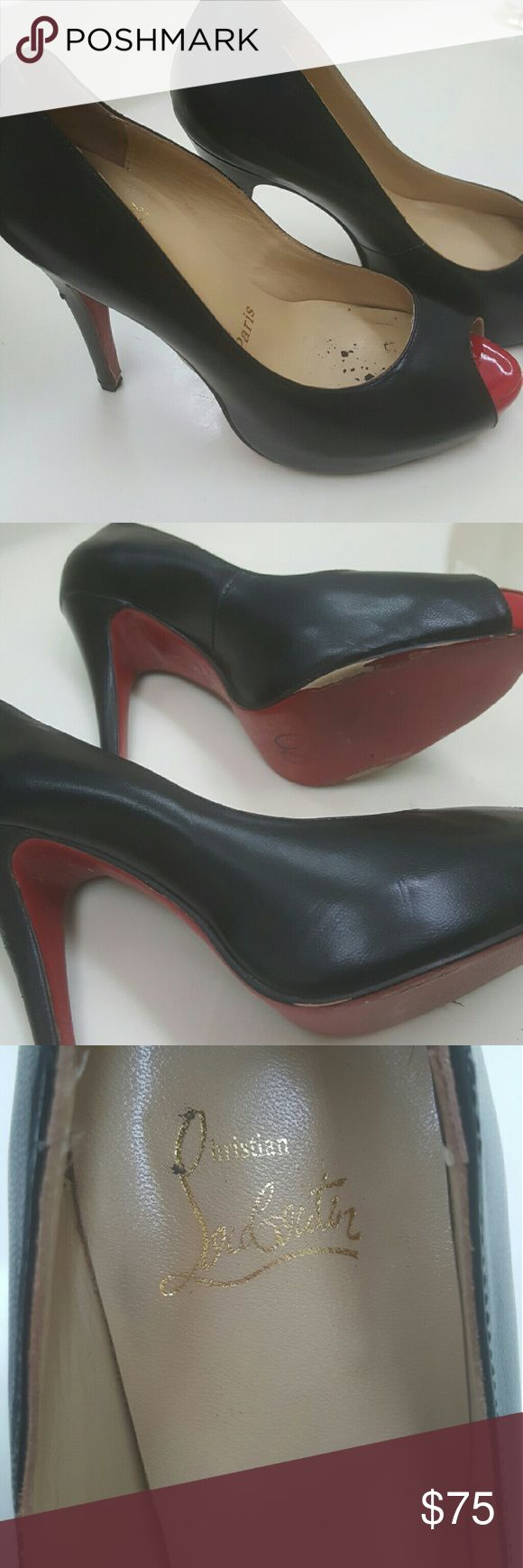 Red bottom shoes Black open toe heels with red tip and bottoms Shoes Heels