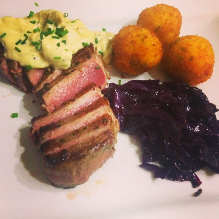 Steak with Gruyere and Chive Croquette Potatoes, Red Cabbage and a Mustard Sauce with Shiitake Mushrooms