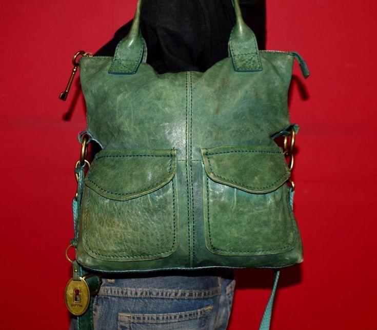 FOSSIL Modern Cargo Green Leather Cross-Body Shoulder Rugged Tote Purse Bag | eBay