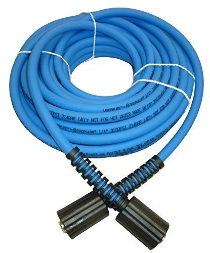 """Product review for UBERFLEX Kink Resistant Pressure Washer Hose 1/4"""" x 50' 3,100 PSI with (2) 22MM. Designed for use on gas or electric pressure washers with operating pressures of 3,100 PSI or less. Works on many Briggs & Stratton, Craftsman, Delta, Devilbiss, Excell, Generac, Karcher, Ryobi, Sears & Troy Bilt units with dual 22mm-14 female twist connects. NOT FOR HOT WATER OR..."""
