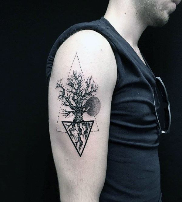 Triangle Circle Male Upper Arm Tree Root Tattoo Design Ideas