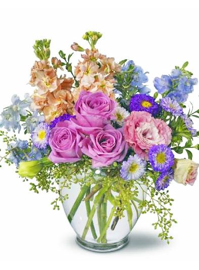 17 best spring images on pinterest flower arrangements floral heaven scent pink stock and lisianthus light blue delphinium lavender roses and matsumoto asters accented with seeded eucalyptus and oregonia mightylinksfo