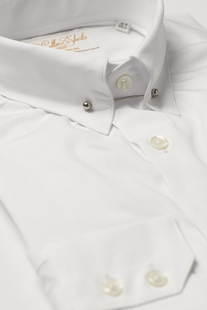 Mens white pin collar shirt straight collar stuff Straight collar dress shirt