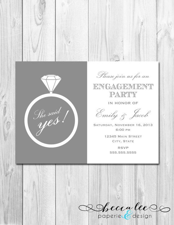 Engagement Party Invitation She Said Yes Ring