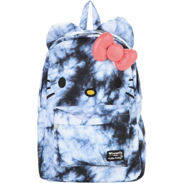 Sanrio Hello Kitty Blue Tie Dye Backpack ($30) ❤ liked on Polyvore featuring bags, backpacks, padded bag, blue tie dye backpack, embroidered bags, bow bag and tie dye bag
