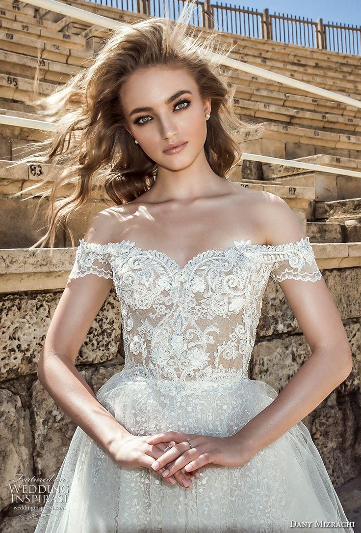 dany mizrachi 2018 bridal off shoulder sweetheart neckline full embellishment tulle skirt elegant romantic a  line wedding dress lace back short train (1) zv -- Dany Mizrachi 2018 Wedding Dresses