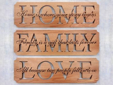 SLDK313 Home, Family & Love Word Art Plaque Set