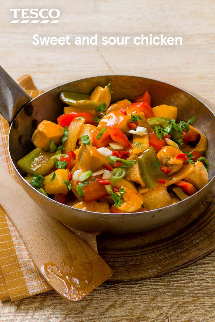 Rustle up your favourite takeaway at home with this easy sweet and sour chicken recipe. Ready in under 30 mins, it's quicker and tastier than a delivery, with colourful veg, juicy pineapple and that all important sticky, sweet sauce.   Tesco