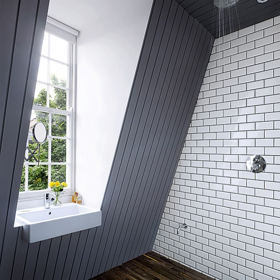 A great use of small space - wet room with the basin in the window.