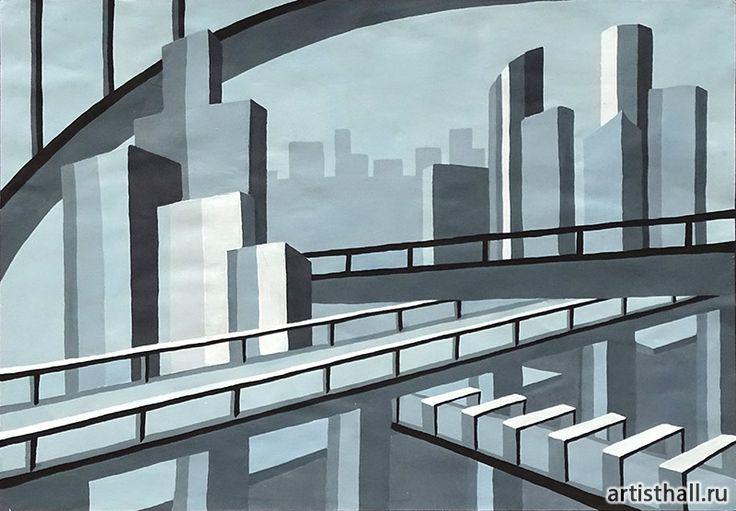 Композиция Мегаполис - цветной вариант #art #design #draw #композиция #графика #мегаполис #artworkshop #artisthall
