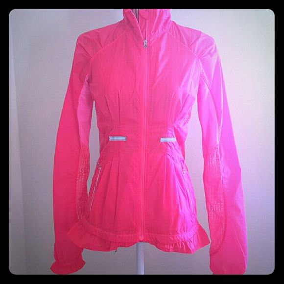 Rare lululemon run wild jacket Lululemon run wild jacket  Rare coral/pink color. Size dot size 4  Brand new excellent condition.  Searched everywhere online and only found one other for $149. Rain jacket material with mesh back and on the arms and ruffle on bottom. Super cute. lululemon athletica Jackets & Coats