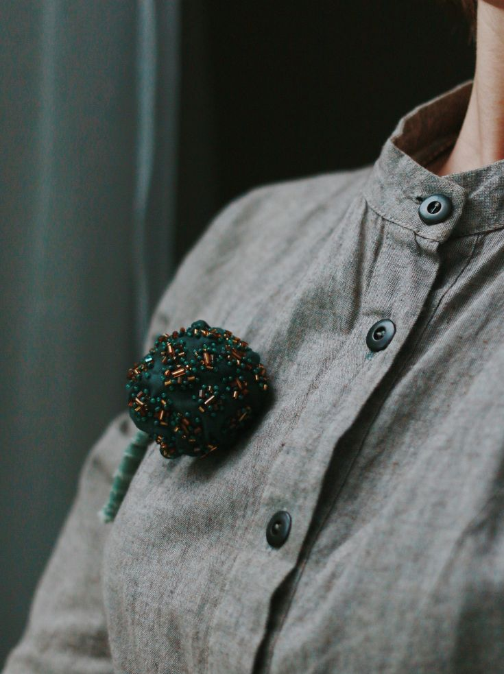 textile mushroom pin