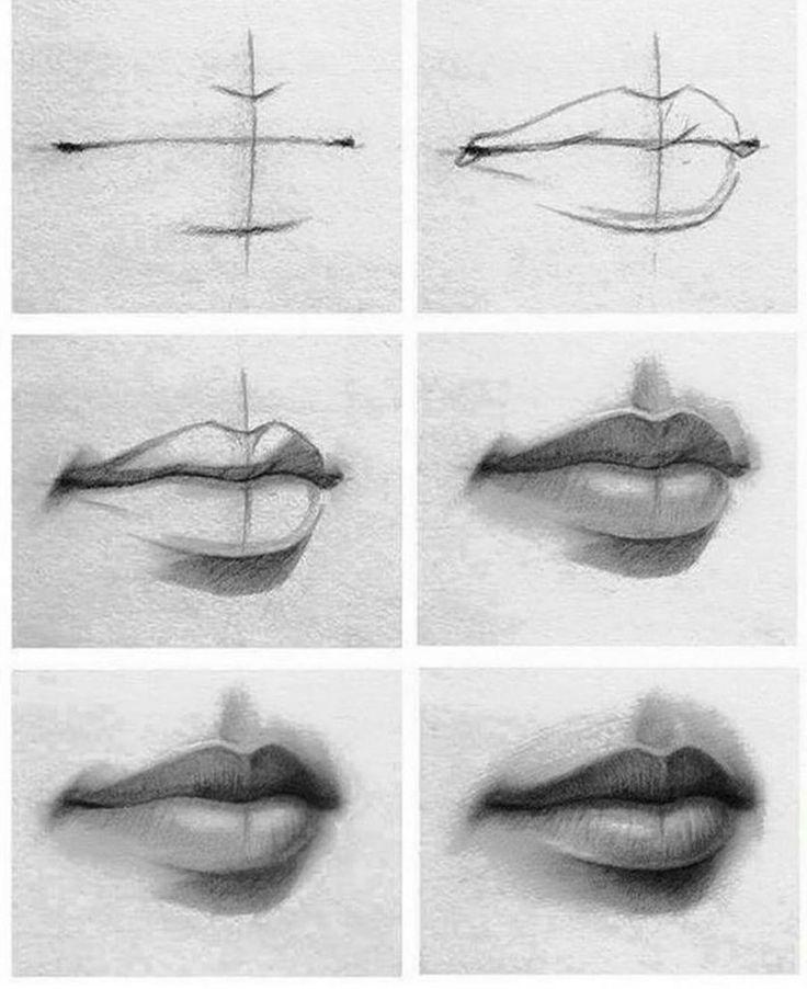 Рисовать губы карандашом картинки поэтапно