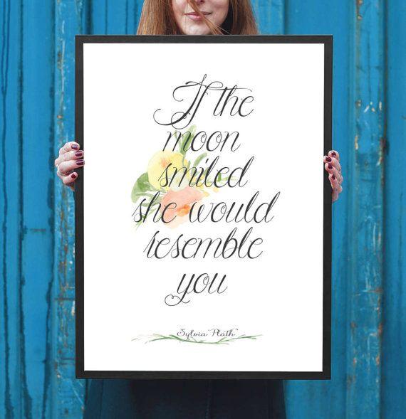 Sylvia Plath Literary Poster Plath Literary by NeverMorePrints