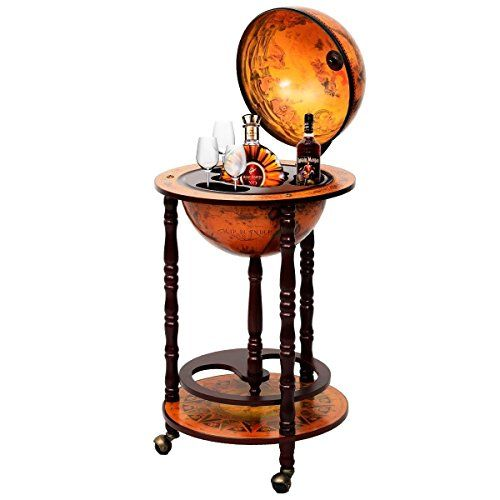 Super-buy-17-Wood-Globe-Wine-Bar-Stand-16th-Century-Italian-Rack-Liquor-Bottle-Shelf-0