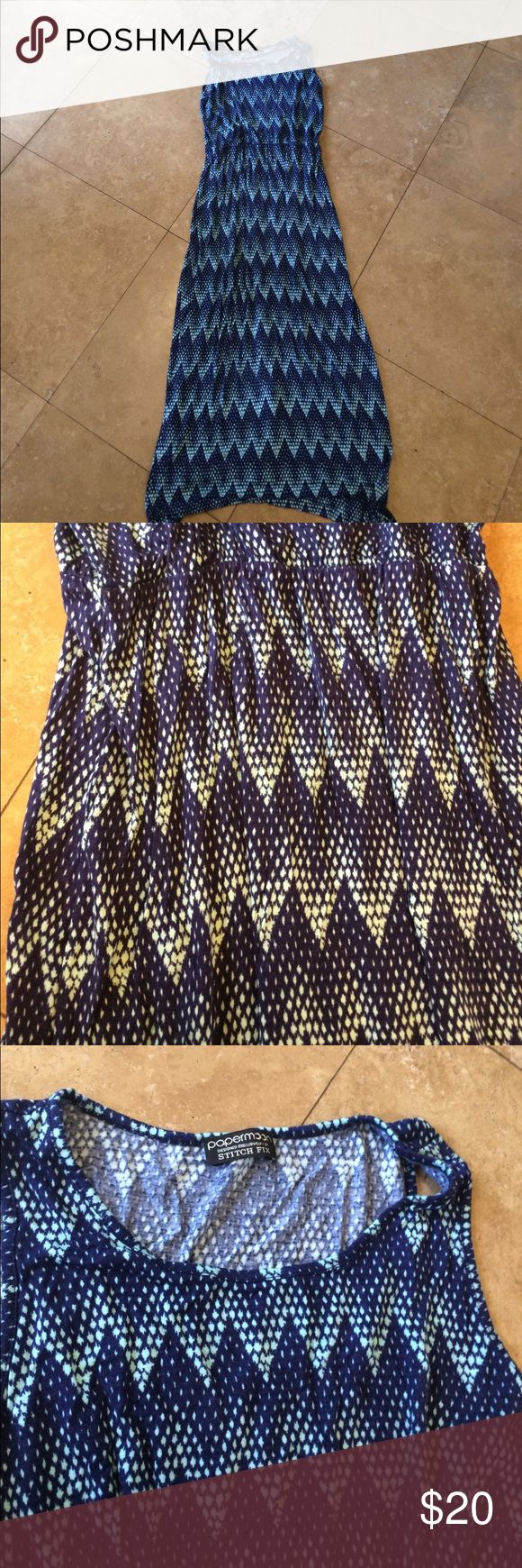 Chevron print maxi dress Blue Chevron print maxi dress.  Material is light and stretchy.  Size tag has come off., but other than that it's in very good condition! Papermoon Dresses Maxi