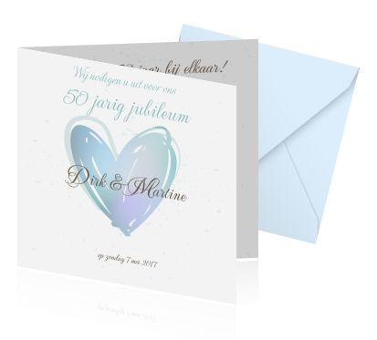 Een jubileum vieren doe je met een originele kaart! Mooie jubileumkaarten zelf maken met hartjes in blauw. Nu online te bestellen!