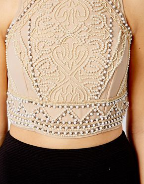Image 3 of River Island Pearl Embellished Crop Top