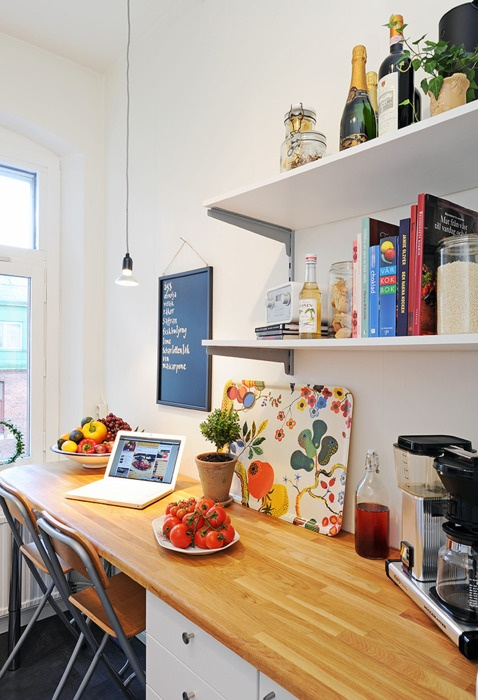 I really love the idea of having a nice little work space in the kitchen