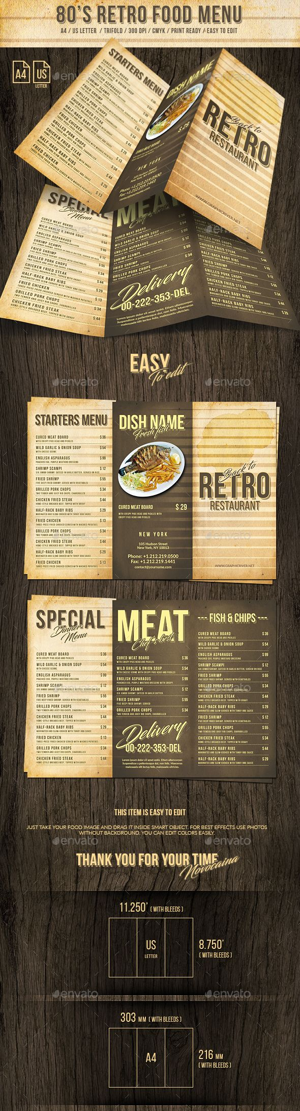 455 best trifold restaurant menu template images on pinterest 80s retro trifold menu us letter and a4 pronofoot35fo Choice Image