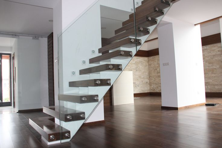 glass railings metal stairs
