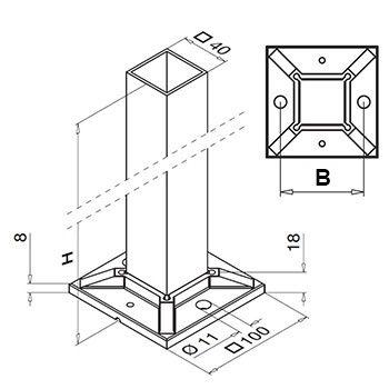 Best Stainless Steel Balustrade End Post Square Range 40Mm 400 x 300