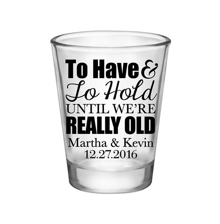 "100x Personalized Wedding Shot Glasses Wedding Favors | 1.75 oz Clear | To Have And To Hold (1A) | Choose Imprint Color | by ""ThatWedShop"" on Etsy 
