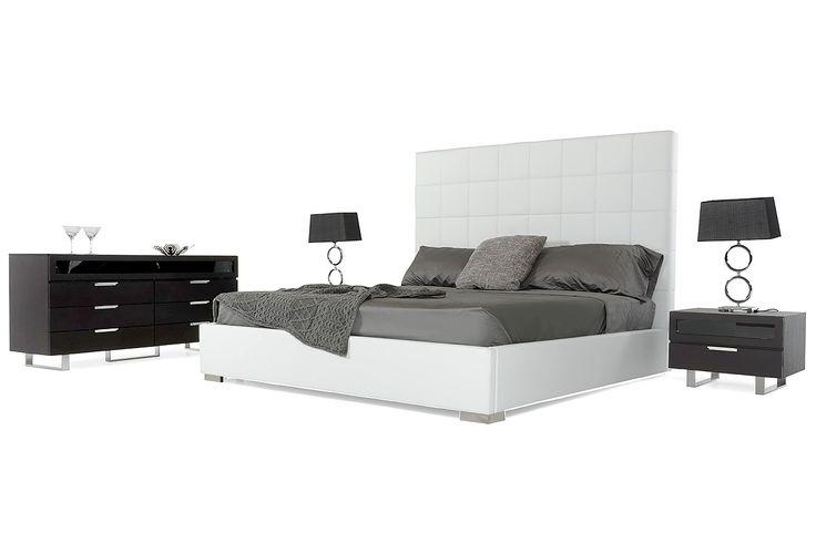531.00 Francis Modern White Leather Bed - Modern Bedroom - Bedroom