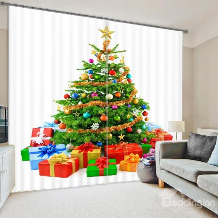 3D Christmas Tree And Gifts Printed Holiday Scenery Blackout Water Proof Room Curtain