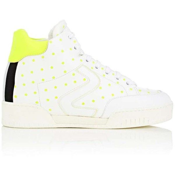 Stella McCartney Women's Faux-Leather Sneakers ($565) ❤ liked on Polyvore featuring shoes, sneakers, white, white high-top sneakers, vegan white sneakers, vegan high top sneakers, high-top sneakers and white hi tops