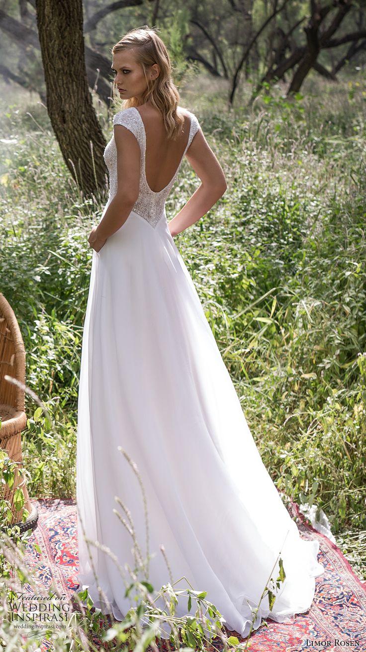 limor rosen 2017 bridal cap sleeves v neck heavily embellished bodice a  line wedding dress scoop back sweep train (delphine) bv