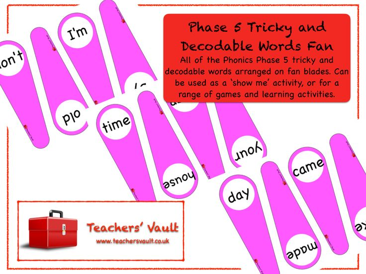 Phase 5 Phonics Tricky and Decodable Words Fan - Phonics and Spelling Teaching Resources and Activities
